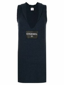 Chanel Pre-Owned logo knitted fitted dress - Blue