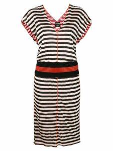 Jean Paul Gaultier Pre-Owned striped V-neck dress - Black