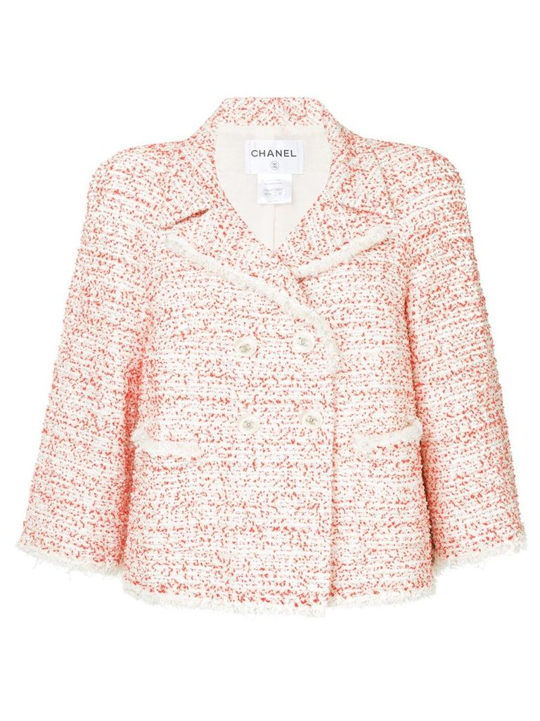 Chanel Vintage tweed double breasted jacket - White