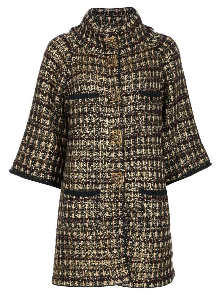 Chanel Vintage checked pattern buttoned up jacket - Blue