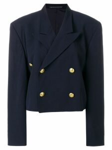 Yohji Yamamoto Pre-Owned Double breasted cropped jacket - Blue