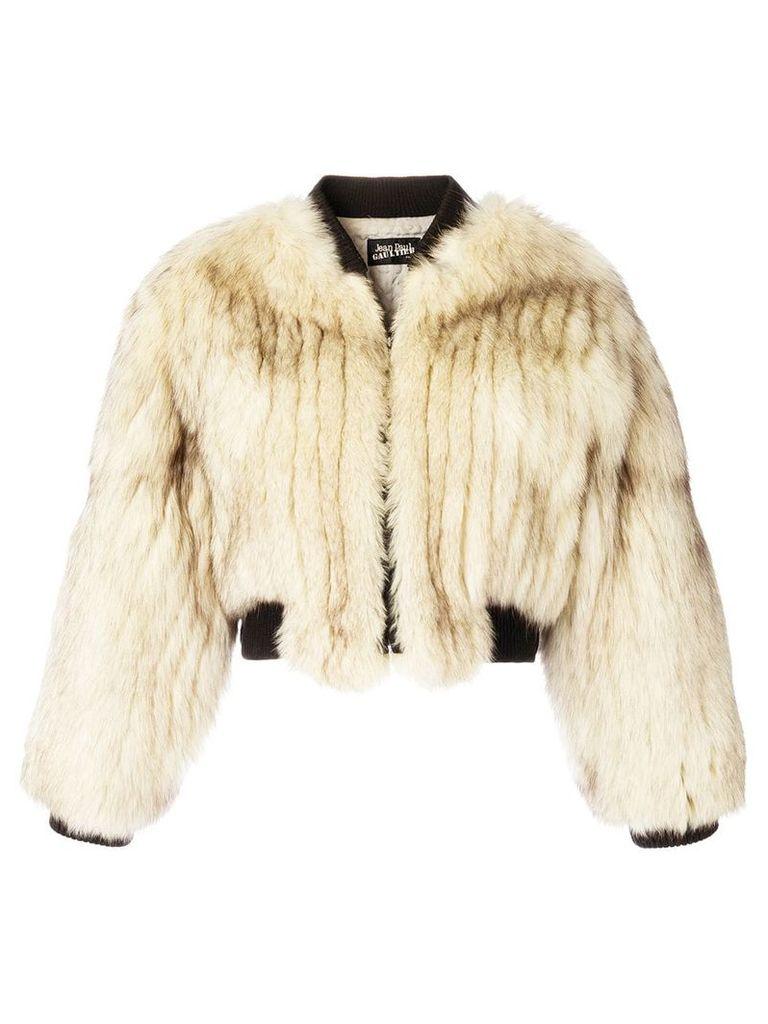 Jean Paul Gaultier Vintage fox fur bomber jacket - Nude & Neutrals