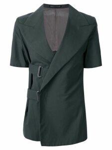 Yohji Yamamoto Pre-Owned pointed lapels belted jacket - Grey