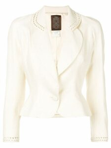 John Galliano Pre-Owned cut-out detail fitted blazer - NEUTRALS