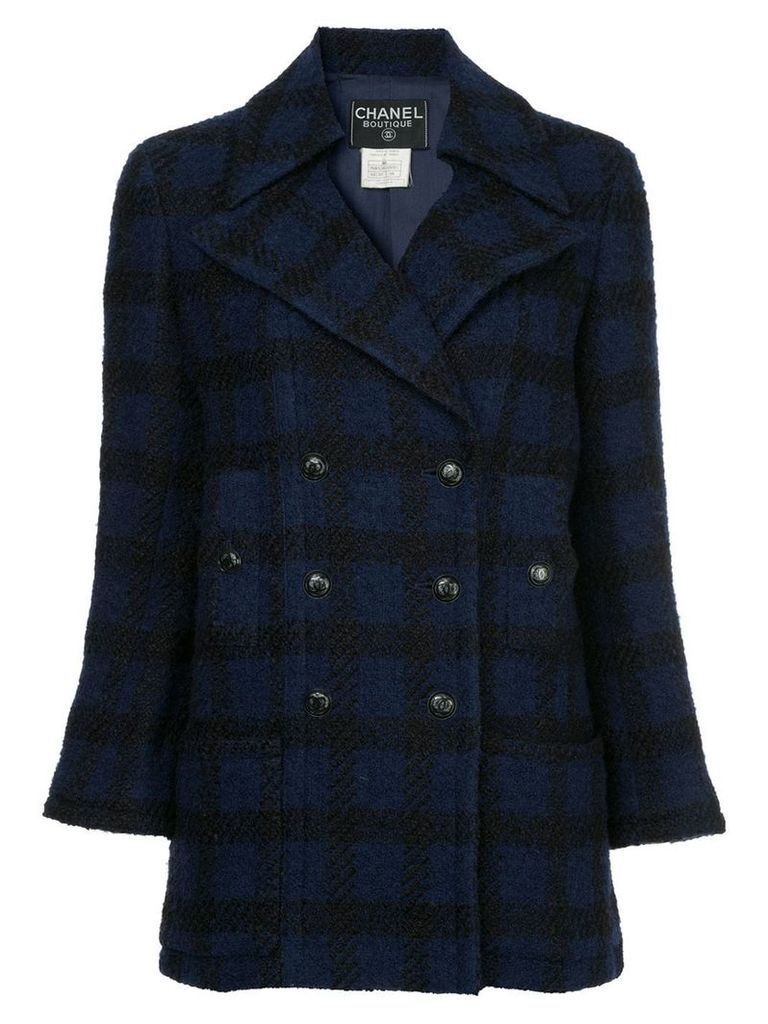 Chanel Vintage checked double breasted jacket - Blue