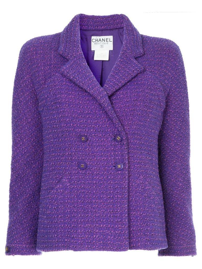 Chanel Vintage double breasted tweed jacket - Purple