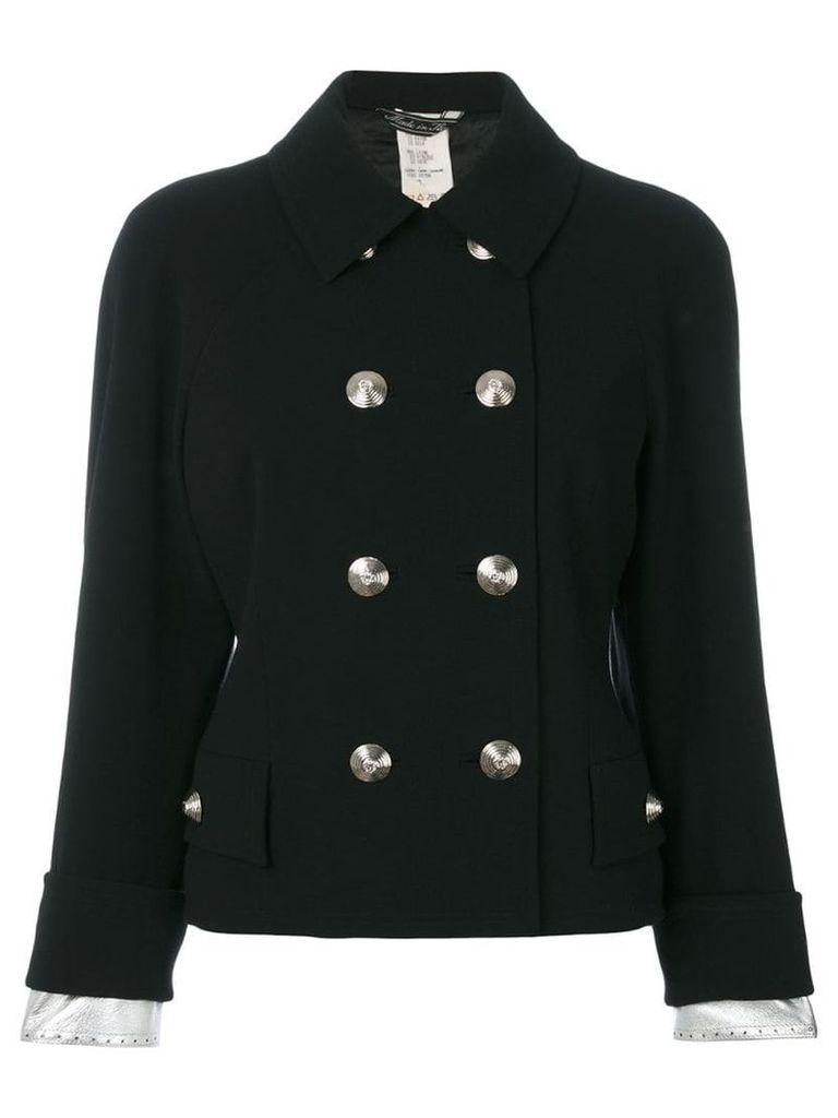 Versace Vintage metallic detail double-breasted jacket - Black
