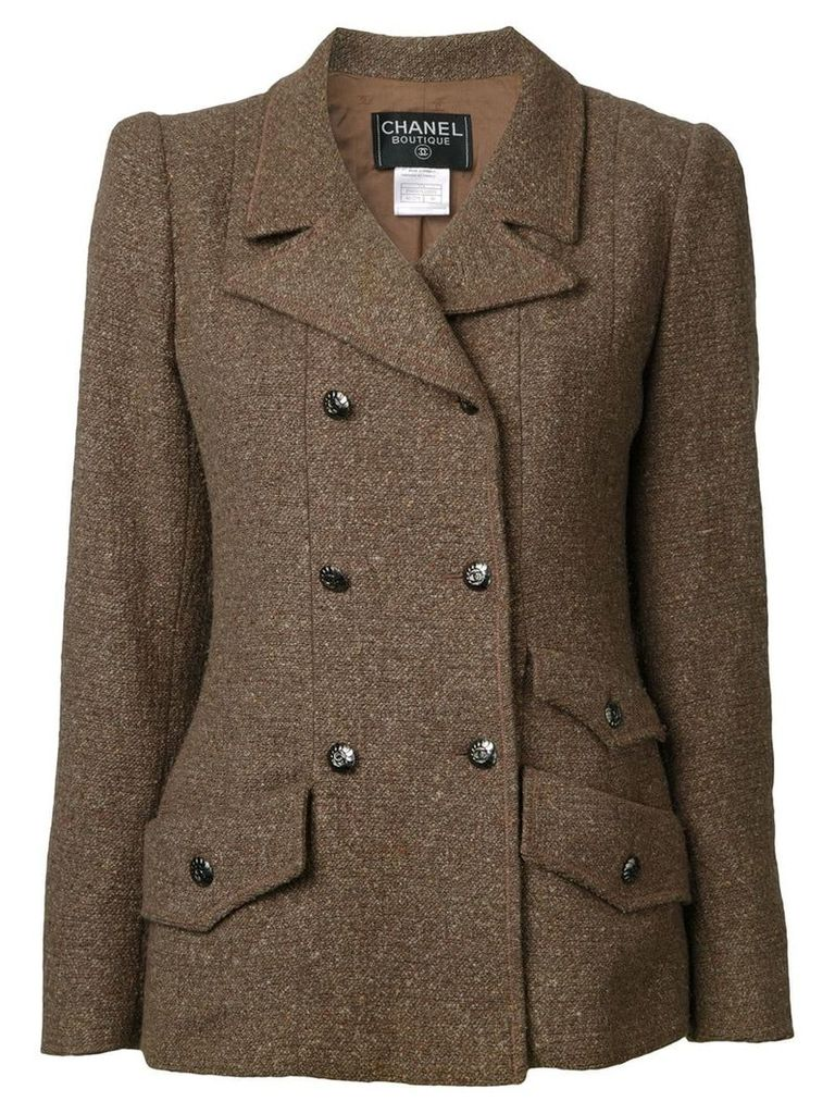 Chanel Vintage tweed double breasted jacket - Brown