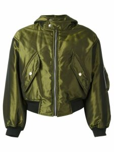 Jean Paul Gaultier Pre-Owned shiny hooded bomber jacket - Green