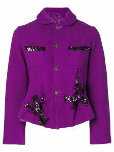 Comme Des Garçons Pre-Owned boiled effect jacket with sequins - PURPLE