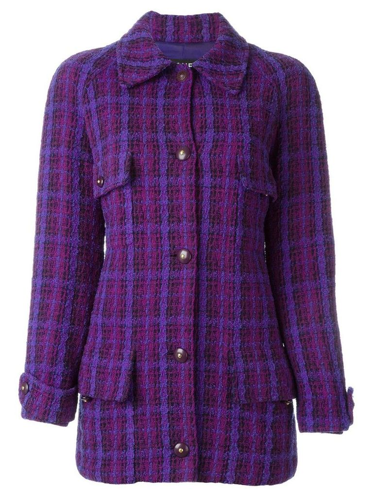 Chanel Vintage long tweed jacket - Purple