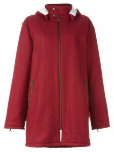 Romeo Gigli Pre-Owned stitch detail hooded coat - Red