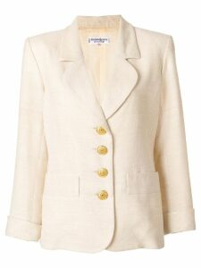 Yves Saint Laurent Pre-Owned contrast-button blazer - NEUTRALS
