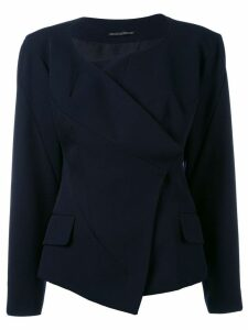 Yohji Yamamoto Pre-Owned collarless deconstructed jacket - Blue