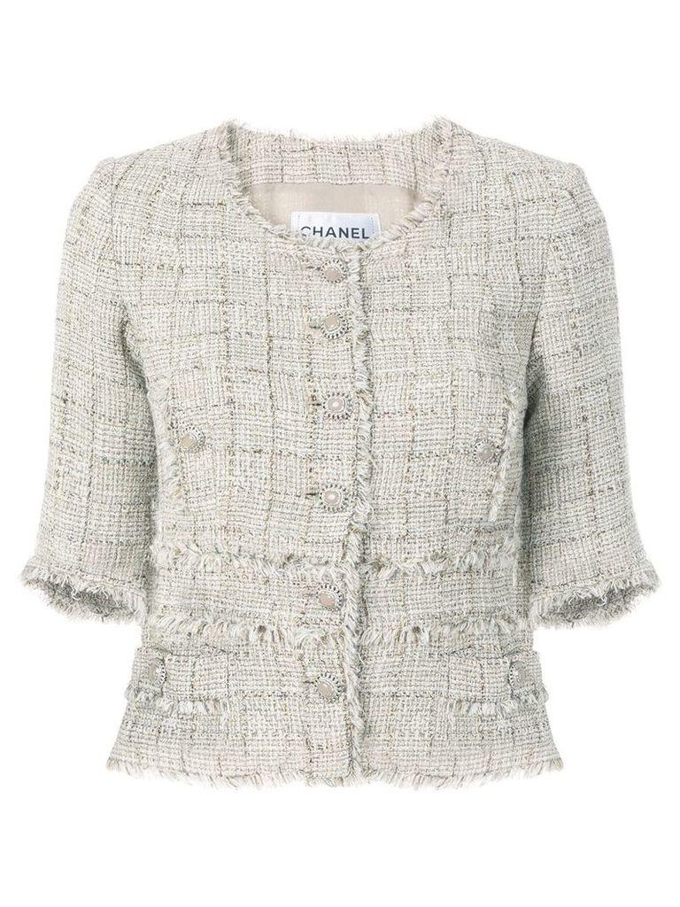 Chanel Vintage shortsleeved tweed jacket - Nude & Neutrals