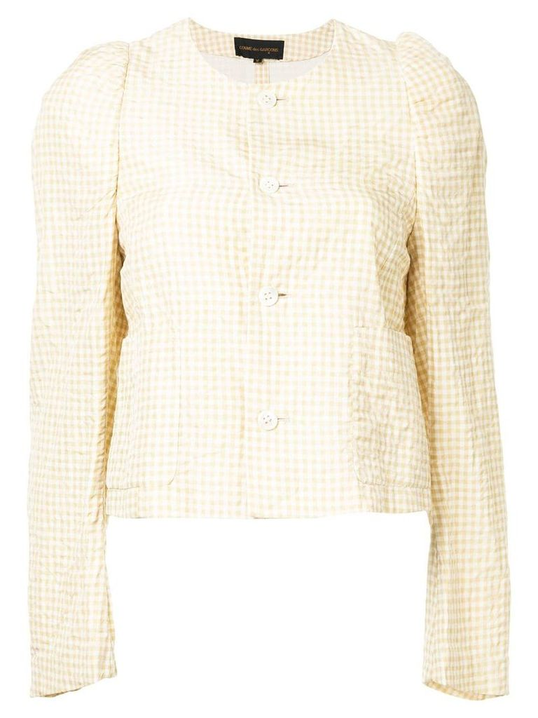 Comme Des Garçons Vintage collarless jacket - Brown