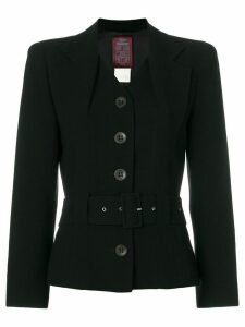 John Galliano Pre-Owned layered lapels belted jacket - Black
