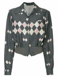 Fake Alpha Vintage 1950s Rockabilly argyle shirt jacket - Grey