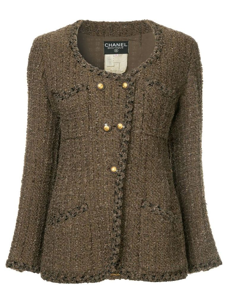 Chanel Vintage double breasted knitted jacket - Brown