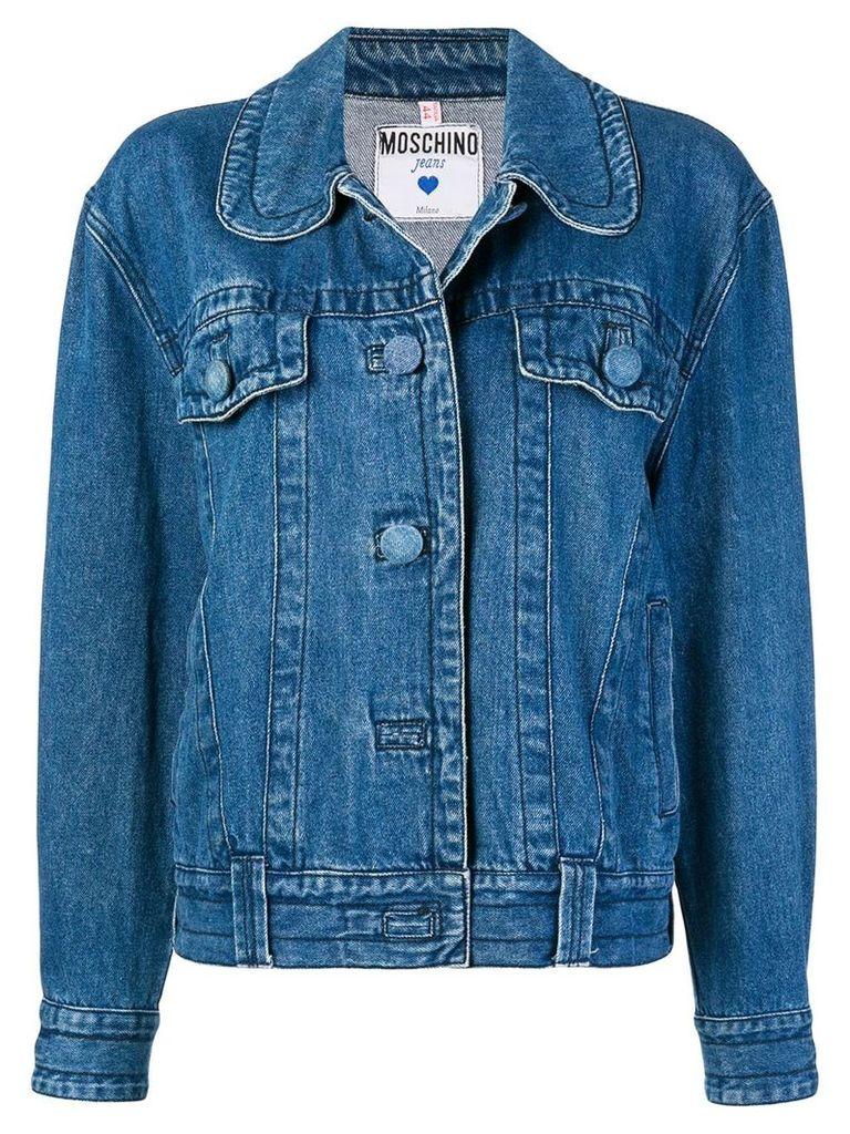 Moschino Vintage round-collar denim jacket - Blue