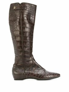Giorgio Armani Pre-Owned calf length pointed boots - Brown