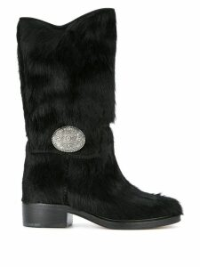 Chanel Pre-Owned CC plaque boots - Black