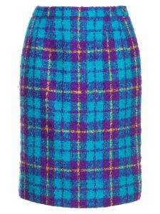 Céline Pre-Owned checked high waisted skirt - Blue
