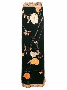 A.N.G.E.L.O. Vintage Cult floral-print wrap maxi skirt - Black