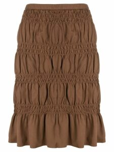 Romeo Gigli Pre-Owned gathered short skirt - Brown