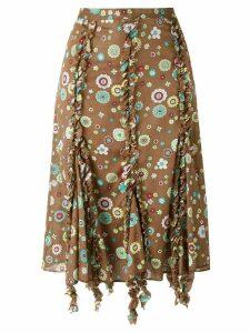 Romeo Gigli Pre-Owned ruffled trim printed skirt - Brown