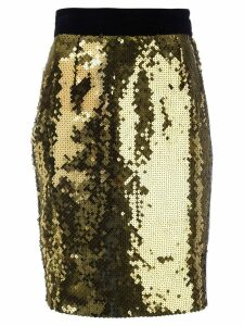 Moschino Pre-Owned sequin pencil skirt - Yellow