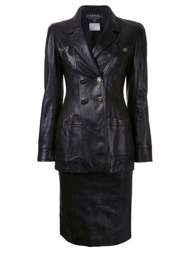 Chanel Vintage CC button setup jacket skirt suit - Black