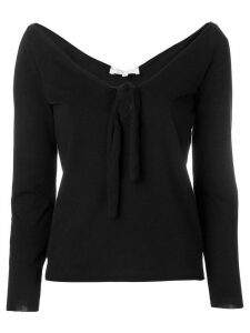 Romeo Gigli Pre-Owned open neck tied blouse - Black
