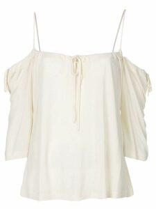 Yohji Yamamoto Pre-Owned cold shoulders drawstring blouse - White