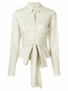 Romeo Gigli Pre-Owned belted waist shirt - Neutrals