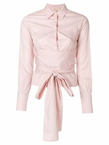 Romeo Gigli Pre-Owned belted waist shirt - Pink