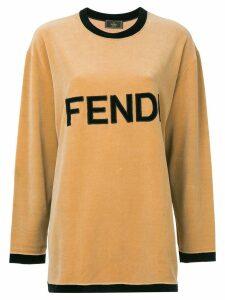 Fendi Pre-Owned logo longsleeved T-shirt - Brown