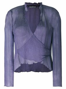 Giorgio Armani Pre-Owned wrapped front sheer blouse - PURPLE