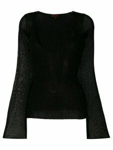 Romeo Gigli Pre-Owned deep V-neck top - Black