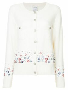 Chanel Pre-Owned cashmere floral embossed cardigan - White