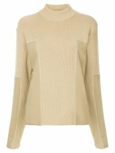 Chanel Pre-Owned panelled turtleneck jumper - NEUTRALS