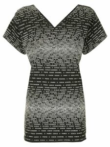 Chanel Pre-Owned logo V-neck T-shirt - Black