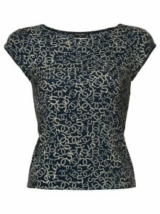 Chanel Pre-Owned pearl logo print blouse - Blue