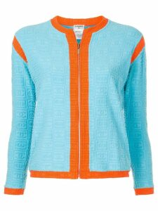 Chanel Pre-Owned logo embossed zipped cardigan - Blue