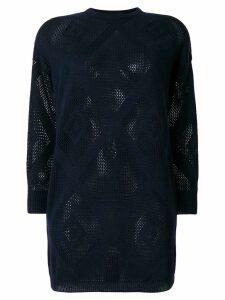 Versace Pre-Owned diamond net sheer jumper - Blue
