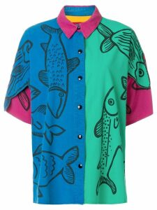 JC de Castelbajac Pre-Owned oversized fish printed shirt - Multicolour