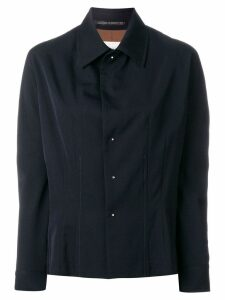 Yohji Yamamoto Pre-Owned concealed detail fitted shirt - Black