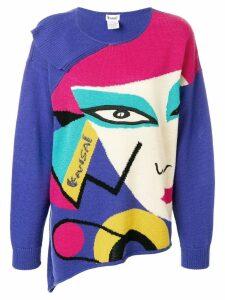 Kansai Yamamoto Pre-Owned face print asymmetric jumper - Multicolour