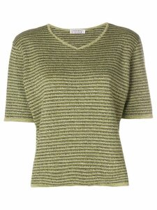 Yves Saint Laurent Pre-Owned striped knitted V-neck top - Green