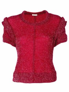 Comme Des Garçons Pre-Owned knitted lurex short sleeve sweater - Red